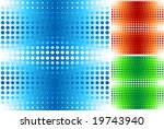 Halftone seamless pattern in blue, orange, green - stock vector