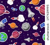 space seamless pattern | Shutterstock .eps vector #197439995