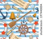 nautical seamless pattern | Shutterstock .eps vector #197440004