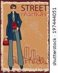 lovely trendy girl in trouser... | Shutterstock . vector #197444051