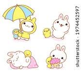 Set Of Kawaii Bunny And...