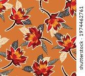 retro red blooming flower ... | Shutterstock .eps vector #1974462761