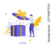 man opening gift box and... | Shutterstock .eps vector #1974487514