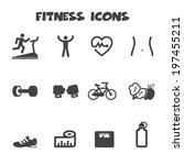 fitness icons  mono vector... | Shutterstock .eps vector #197455211