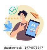 man character holding phone... | Shutterstock .eps vector #1974579347