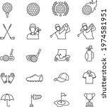 golf outline icon set isolated... | Shutterstock .eps vector #1974581951