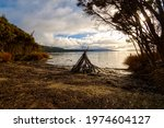 Hand Built Teepee On Shores Of...
