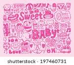 doodle baby background | Shutterstock .eps vector #197460731