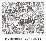 doodle baby background | Shutterstock .eps vector #197460761