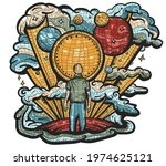human and universe. space... | Shutterstock .eps vector #1974625121