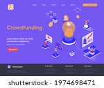 crowdfunding isometric landing...