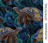 Sea Turtle Swims In Night Ocean....