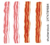 fresh raw and fried bacon... | Shutterstock .eps vector #1974789884