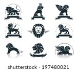 emblems set with lions | Shutterstock .eps vector #197480021