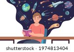 man read space book. young male ...   Shutterstock .eps vector #1974813404