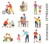 father day with kids. dad with... | Shutterstock .eps vector #1974816434