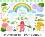 cute rainy season watercolor... | Shutterstock .eps vector #1974828824