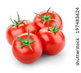 four tomatoes isolated on white ... | Shutterstock . vector #197483624