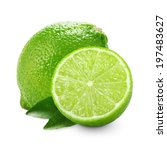 lime with half and leaves... | Shutterstock . vector #197483627