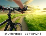 man with bicycle riding country ... | Shutterstock . vector #197484245