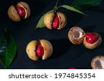 Nutmeg Fruits On Dark Blue...