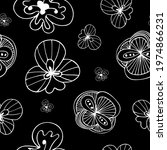 exotic doodle flowers black and ... | Shutterstock .eps vector #1974866231