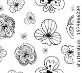 exotic doodle flowers black and ... | Shutterstock .eps vector #1974866234