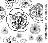 exotic doodle flowers black and ... | Shutterstock .eps vector #1974866237