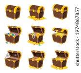 cartoon wooden chest. coin box  ... | Shutterstock .eps vector #1974867857