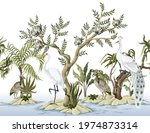 border with white peacocks and...   Shutterstock .eps vector #1974873314