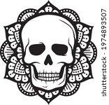 mandala skull vector symbol... | Shutterstock .eps vector #1974893507