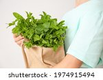 Young Woman With Bag Of Fresh...