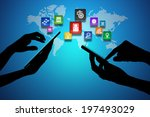 man using smart phone and... | Shutterstock . vector #197493029