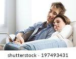 young loving couple sleeping on ... | Shutterstock . vector #197493431