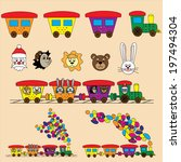 animals  train  toys for kids | Shutterstock .eps vector #197494304