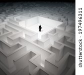 tiny man inside an endless maze | Shutterstock . vector #197496311