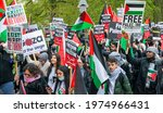 Small photo of London, UK. 15th May 2021. Palestinian protesters at the Save Sheikh Jarrah rally for a Free Palestine, urging the UK government to take immediate action and stop allowing Israel to act with impunity.