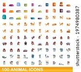 100 Animal Icons Set. Cartoon...