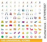 100 universal icons set.... | Shutterstock .eps vector #1974990587
