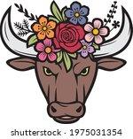 floral bull head color  vector... | Shutterstock .eps vector #1975031354