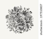 vintage floral vector bouquet... | Shutterstock .eps vector #197510837