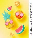 tropical fruits in cute 3d art...   Shutterstock .eps vector #1975120931