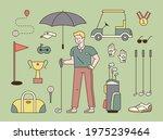 golf player and golf equipment... | Shutterstock .eps vector #1975239464