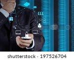 businessman hand use smart... | Shutterstock . vector #197526704