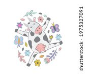 cow with flowers and...   Shutterstock .eps vector #1975327091