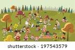 group of cute happy cartoon...   Shutterstock .eps vector #197543579