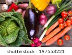 fresh organic vegetable on wood | Shutterstock . vector #197553221