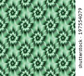 Teal Green Daisy Pattern / A digital abstract fractal image with a seamless monochrome daisy flower pattern in teal green. - stock photo