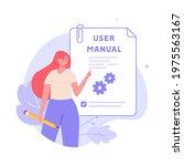 woman read user manual book.... | Shutterstock .eps vector #1975563167