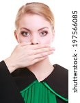 Small photo of Law court or justice concept. Woman lawyer attorney wearing classic polish (Poland) black green gown covering mouth with hand. Confidential information.